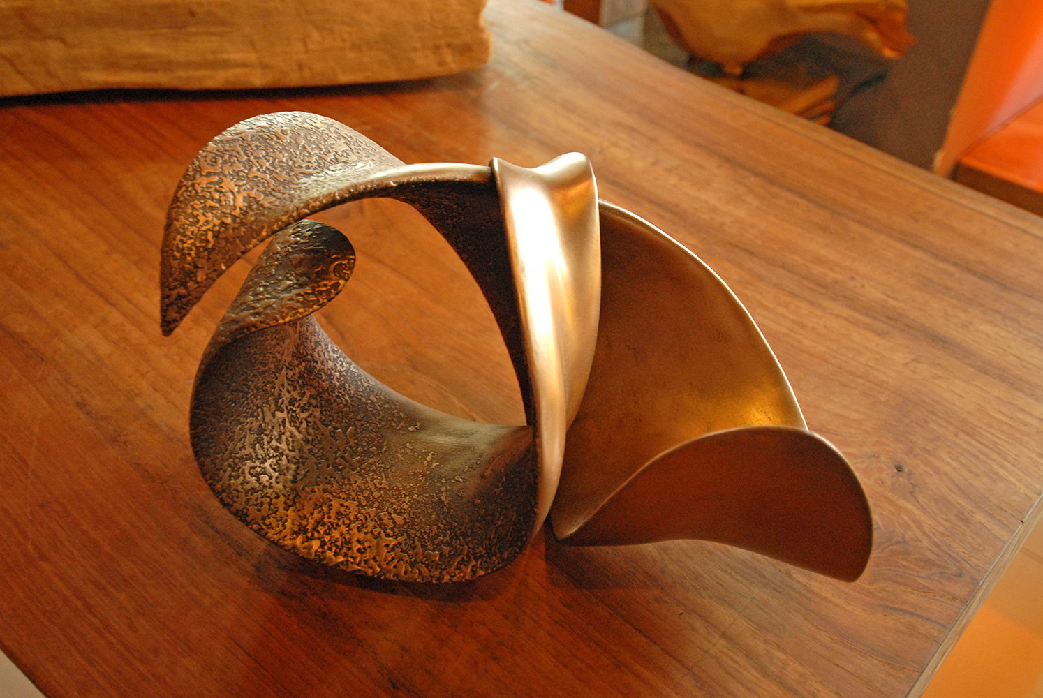 A Lava Sculpture coated with Metal Finishing